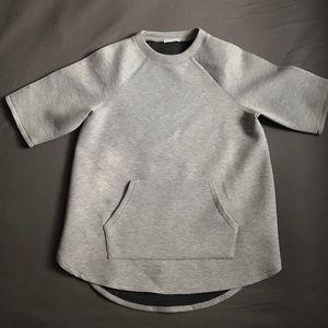 Zara Gray Hi-Lo Neoprene Shirt, Size M